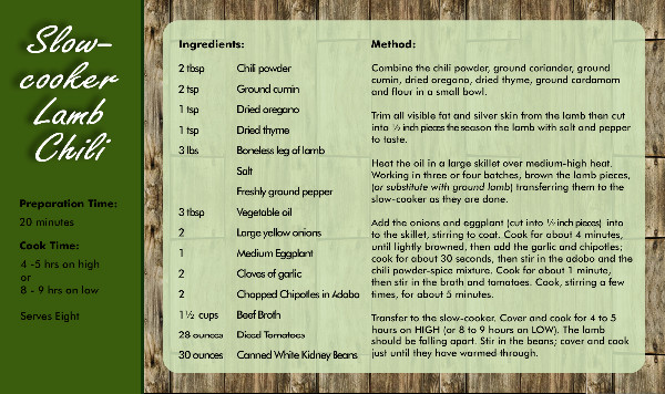 Recipe Card Chilli Side 2