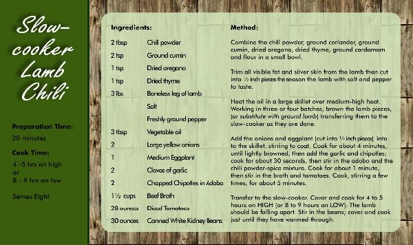 Recipe Card Chilli Side 2