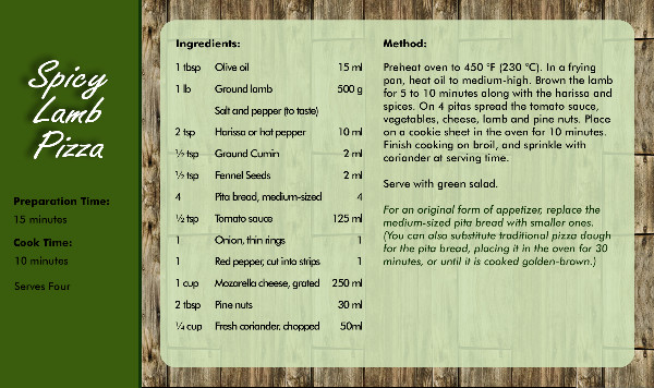 Recipe Card Pizza Side 2