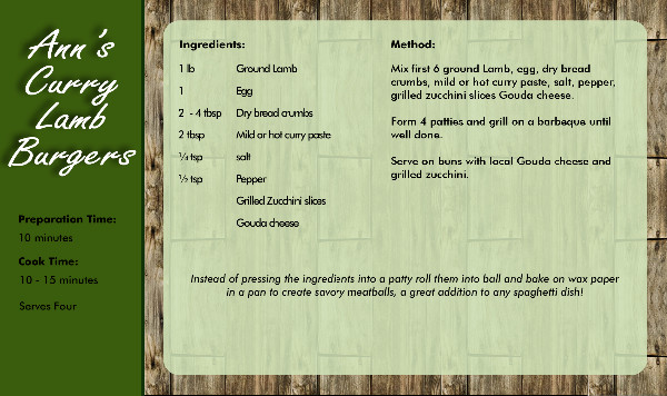 Recipe Card burger Side 2